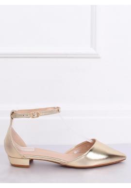 Elegantné dámske balerínky zlatej farby na nízkom opätku