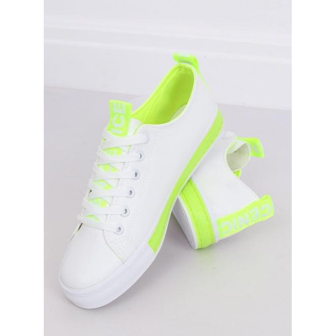 Klasické dámske tenisky bielo-zelenej farby