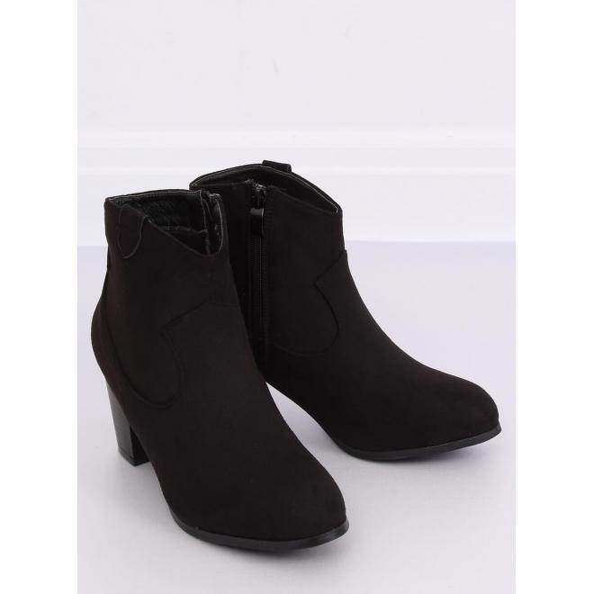 Čierne semišové topánky na stabilnom opätku pre dámy