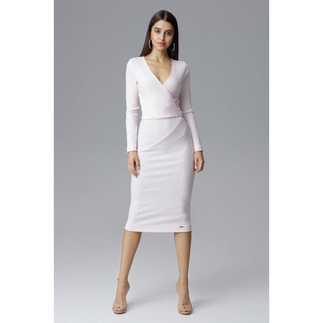 Dámske vypasované šaty s dlhým rukávom v ružovej farbe
