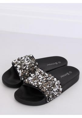 Čierne módne šľapky s kamienkami pre dámy
