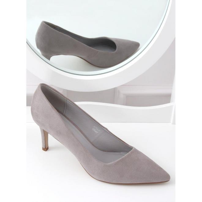 Asymetrické dámske lodičky sivej farby na štíhlom podpätku