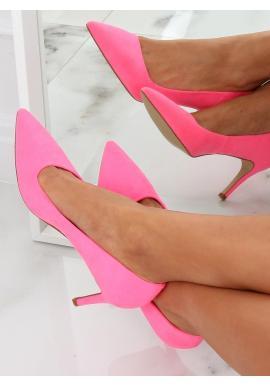 Ružové asymetrické lodičky na štíhlom podpätku pre dámy