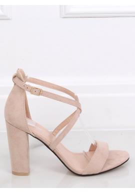 Semišové dámske sandále béžovej farby na stabilnom podpätku