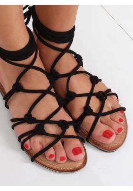 Čierne semišové sandále s viazaním okolo členku pre dámy