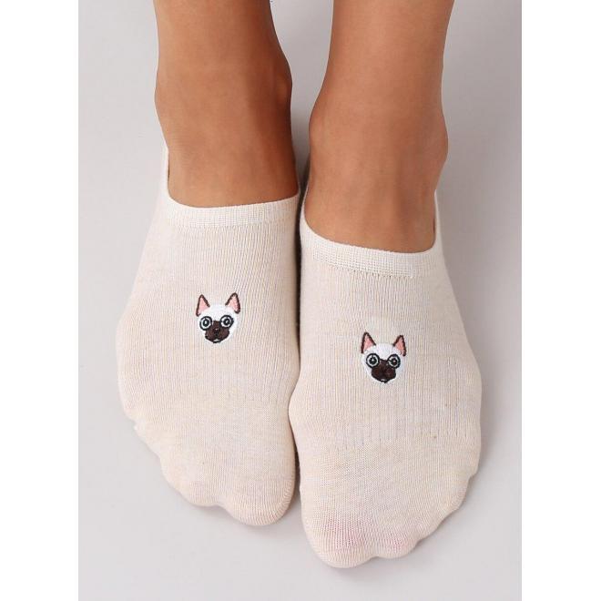 Ťapky pre dámy béžovej farby s mačkou