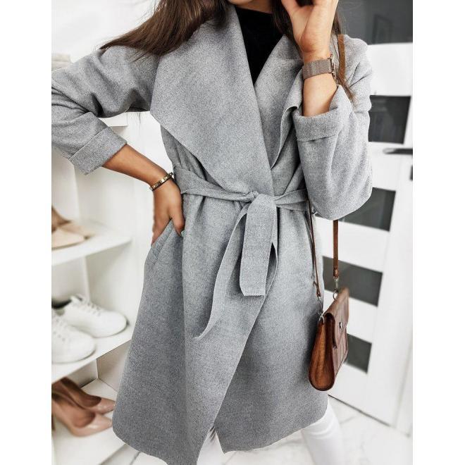 Jarný dámsky kabát sivej farby s viazaním v páse