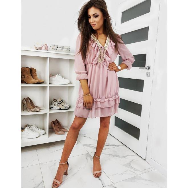 Ružové módne šaty s volánmi pre dámy