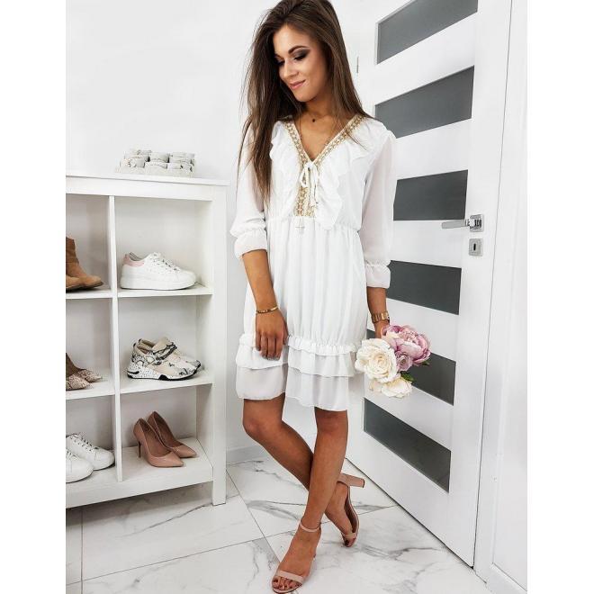 Dámske módne šaty s volánmi v bielej farbe
