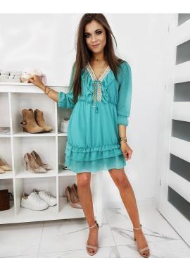 Módne dámske šaty morskej farby s volánmi