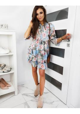 Svetlomodré kvetované šaty s volánmi pre dámy