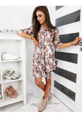 Dámske kvetované šaty s volánmi v bielej farbe