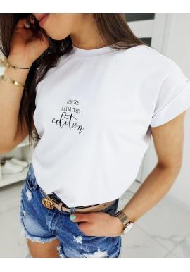 Dámske klasické tričko s nápisom v bielej farbe