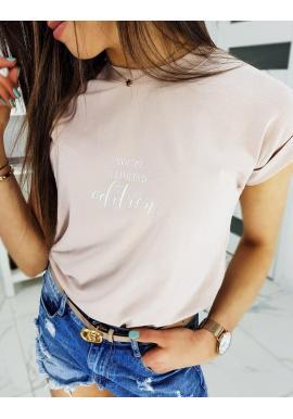 Práškovo ružové klasické tričko s nápisom pre dámy