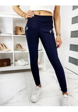 Priliehavé dámske nohavice tmavomodrej farby
