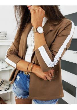 Teplákové dámske sako hnedej farby s pásom na rukávoch