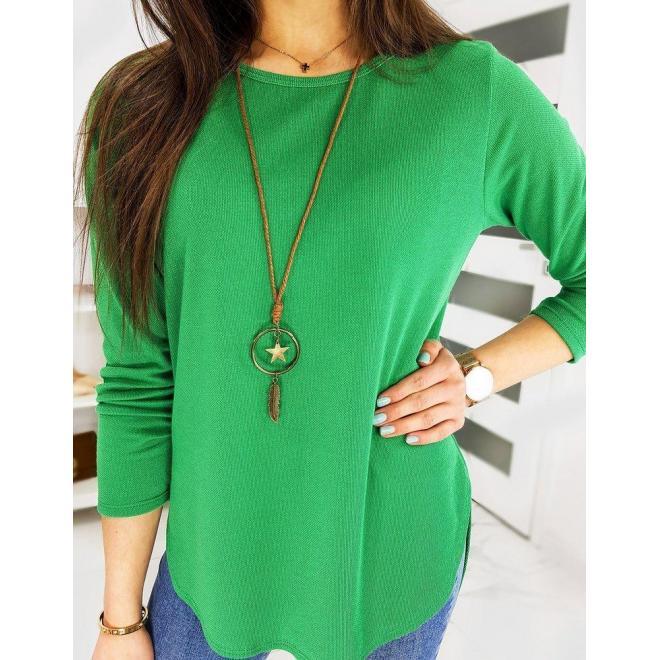 Klasické dámske tričko tmavozelenej farby s dlhým rukávom