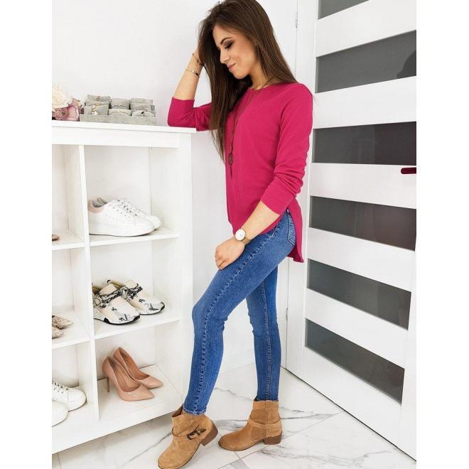Ružové klasické tričko s dlhým rukávom pre dámy