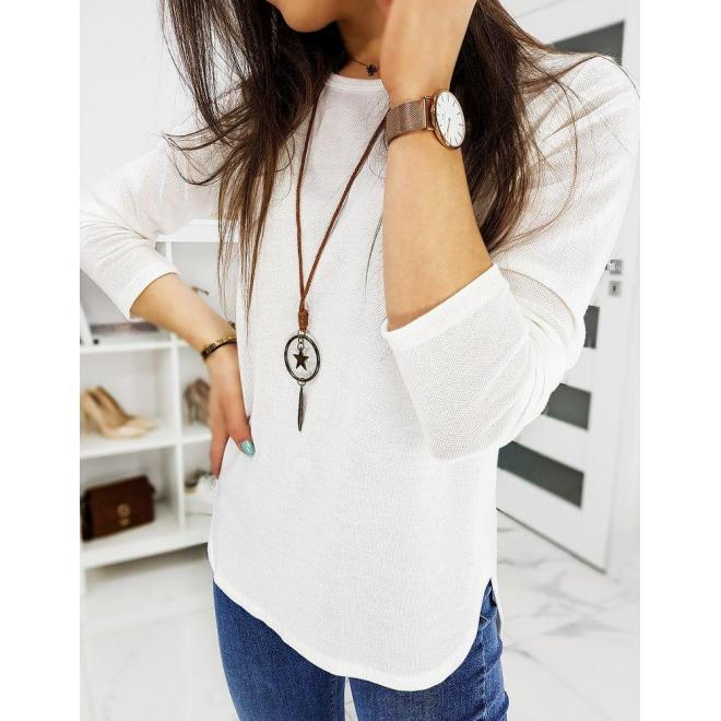 Klasické dámske tričká bielej farby s dlhým rukávom