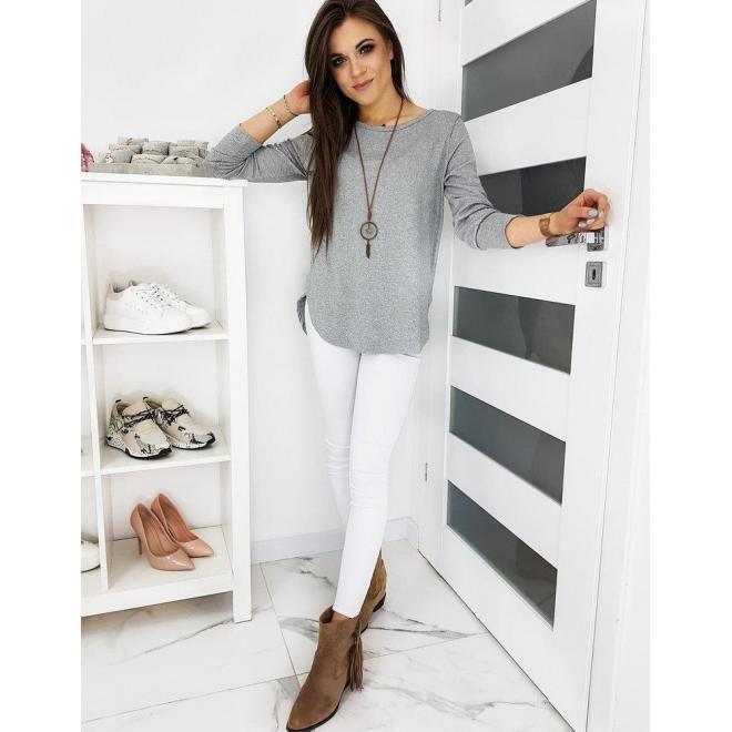 Dámske klasické tričko s dlhým rukávom v sivej farbe