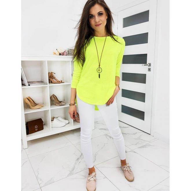 Limetkové klasické tričko s dlhým rukávom pre dámy