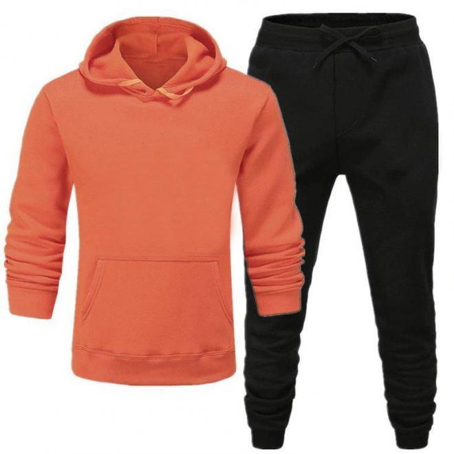 Oranžovo-čierna tepláková súprava s kapucňou pre pánov