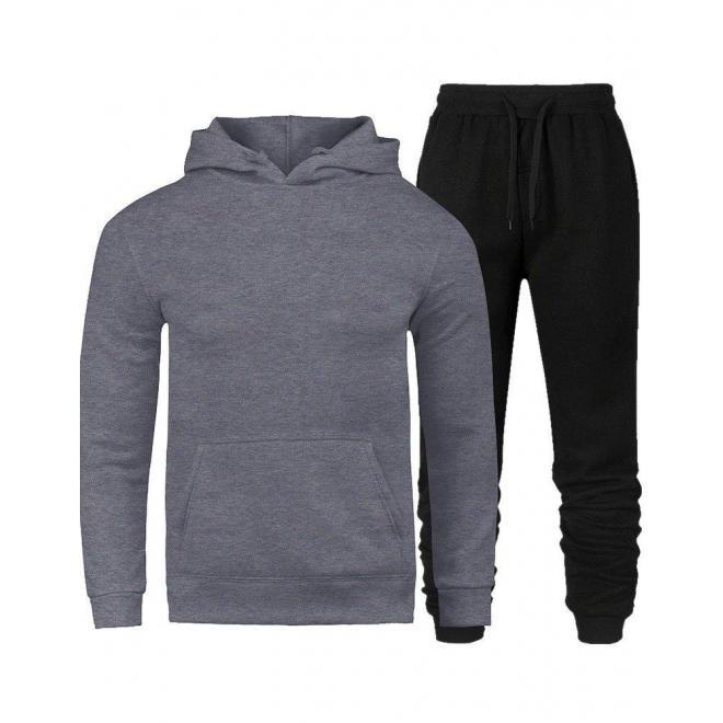 Tepláková pánska súprava sivo-čiernej farby s kapucňou