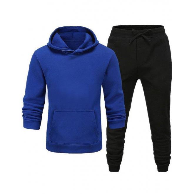 Pánska tepláková súprava s kapucňou v modro-čiernej farbe