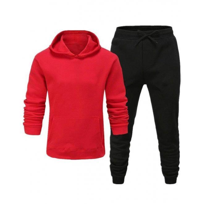 Tepláková pánska súprava červeno-čiernej farby s kapucňou
