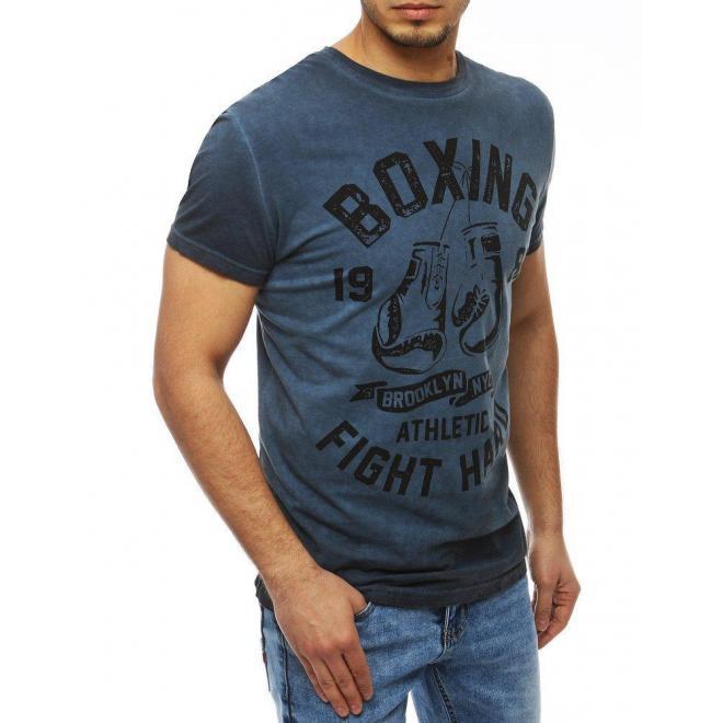 Tmavomodré športové tričko s potlačou pre pánov
