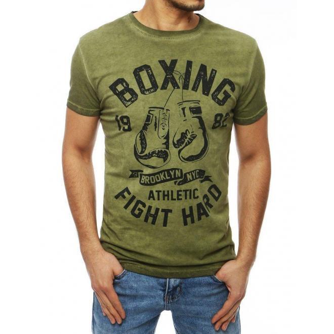 Pánske športové tričko s potlačou v zelenej farbe