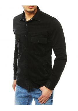 Čierna rifľová košeľa s vreckami pre pánov