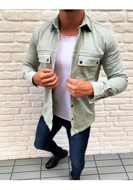 Pánska rifľová košeľa s vreckami v mätovej farbe