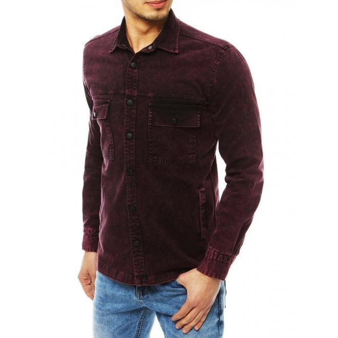 Rifľová pánska košeľa bordovej farby s vreckami