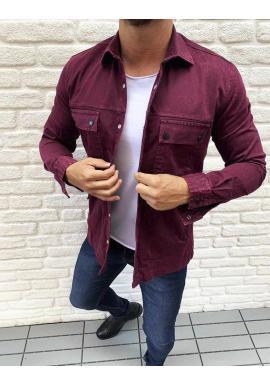Bordová rifľová košeľa s vreckami pre pánov