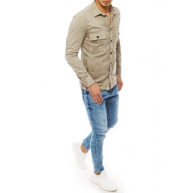 Pánska rifľová košeľa s vreckami v béžovej farbe