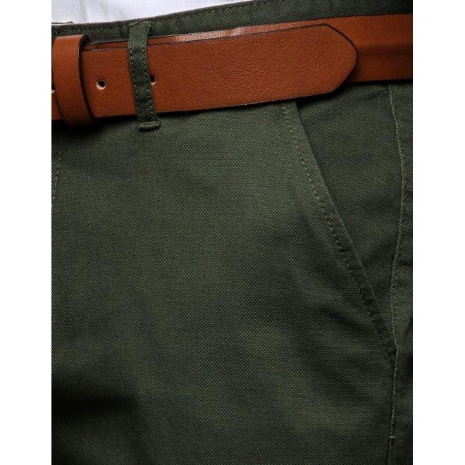 Pánske elegantné nohavice v kaki farbe