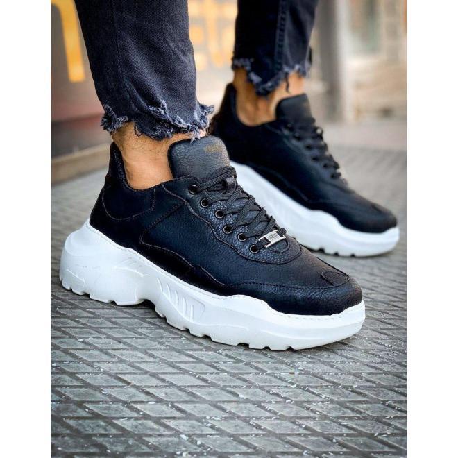 Pánske módne Sneakersy na vysokej podrážke v čiernej farbe