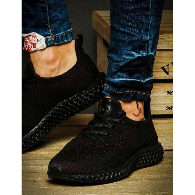 Športové pánske Sneakersy čierno-červenej farby
