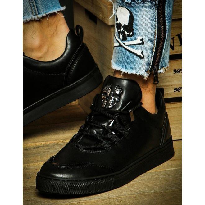 Pánske módne tenisky s ozdobou v tvare lebky v čiernej farbe