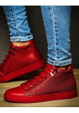 Kotníkové pánske tenisky červenej farby