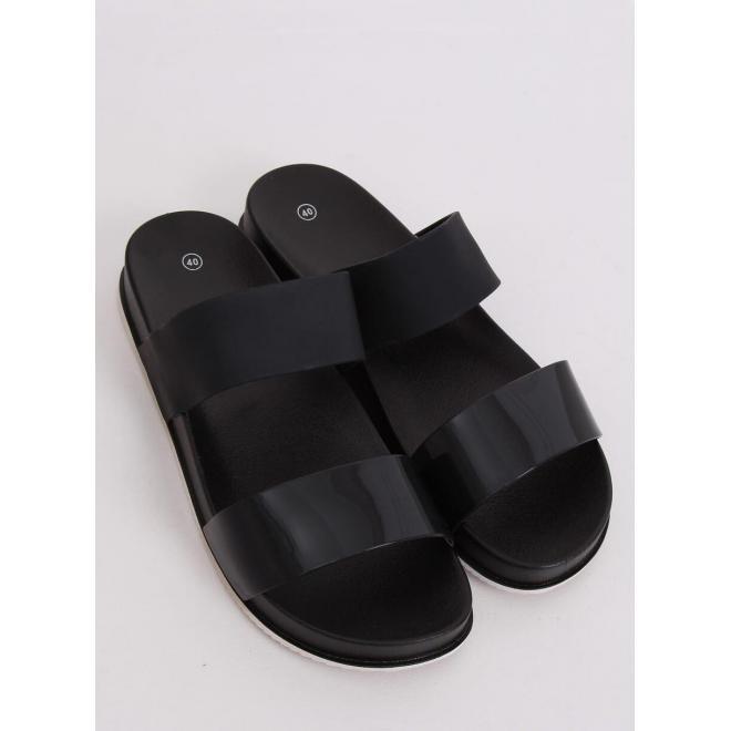 Gumené dámske šľapky čiernej farby na pohodlnej podrážke