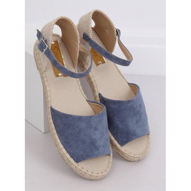 Semišové dámske espadrilky modrej farby s výrezmi