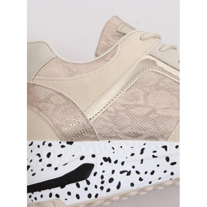 Športové dámske Sneakersy béžovo-zlatej farby s klinovým opätkom