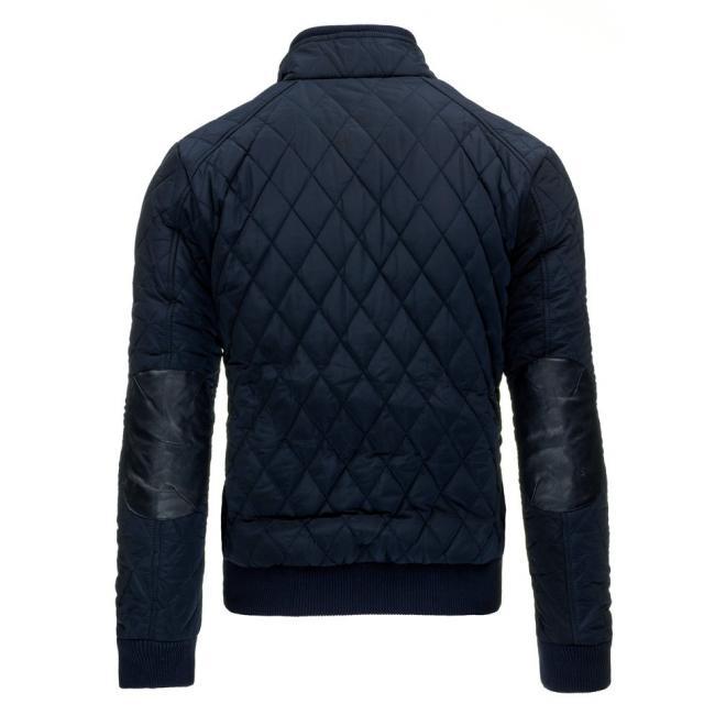 Prešívaná pánska bunda čiernej farby so záplatami na lakťoch
