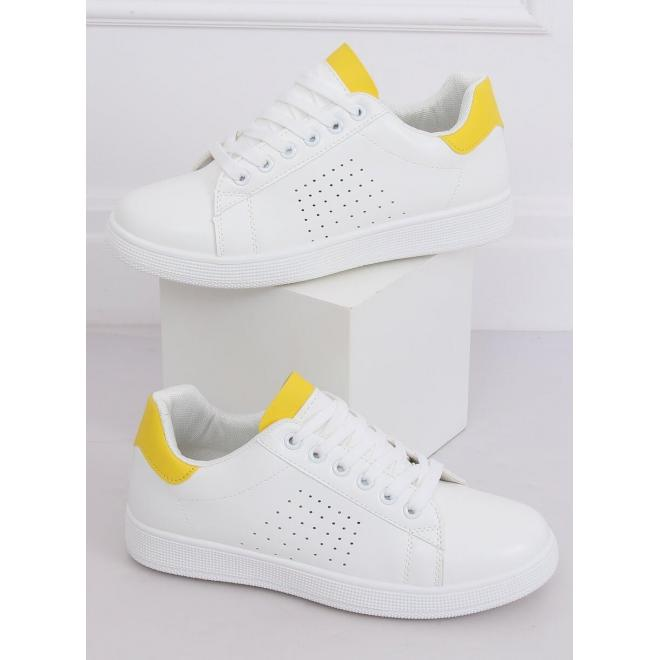 Klasické dámske tenisky bielo-žltej farby