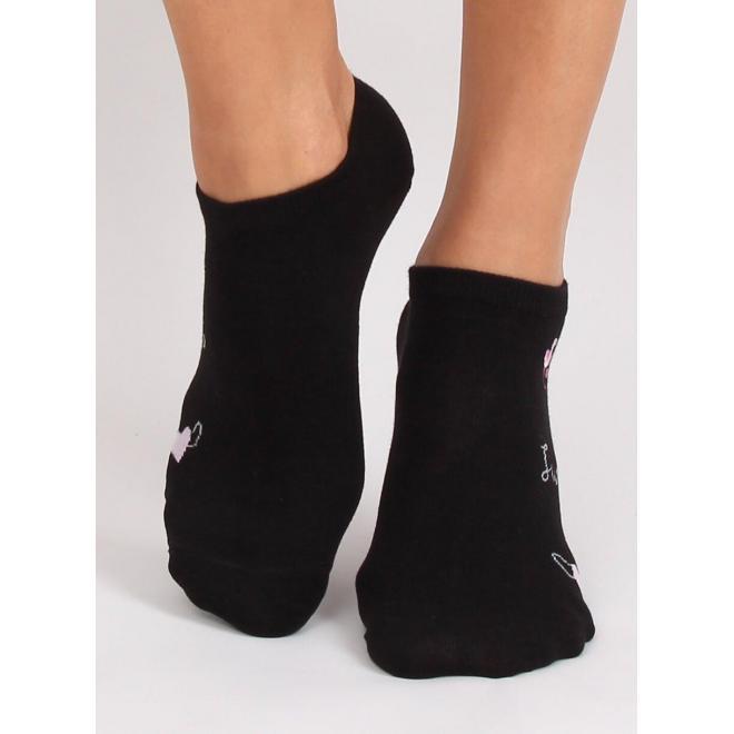Dámske krátke ponožky s plameniakmi v čiernej farbe