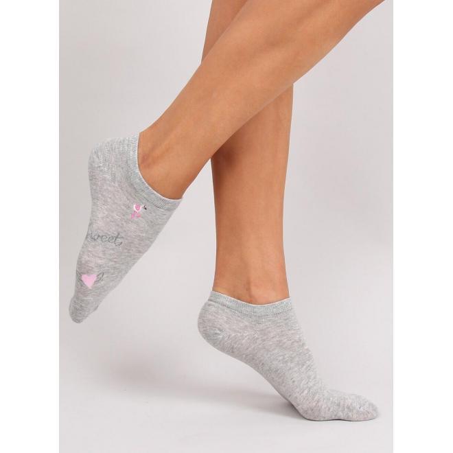 Sivé krátke ponožky s plameniakmi pre dámy