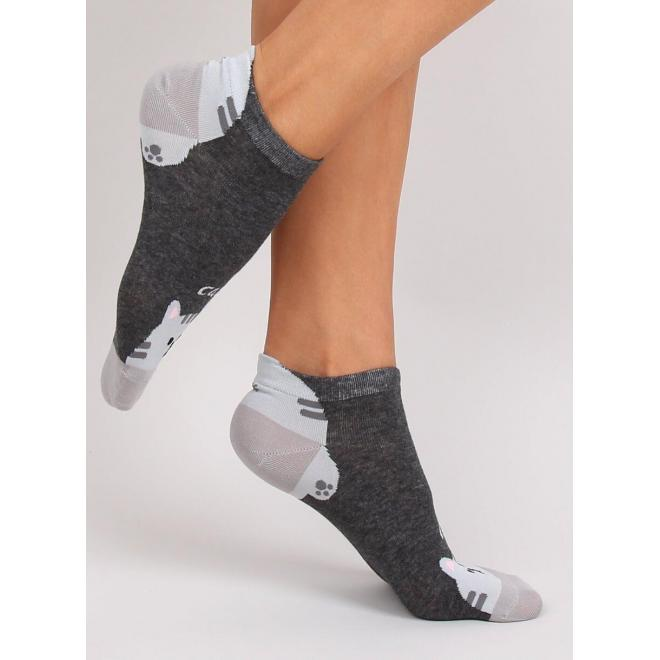 Tmavosivé krátke ponožky s motívom mačky pre dámy