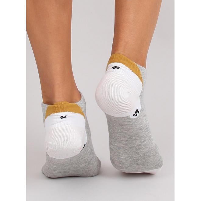 Krátke dámske ponožky sivej farby s motívom líšky